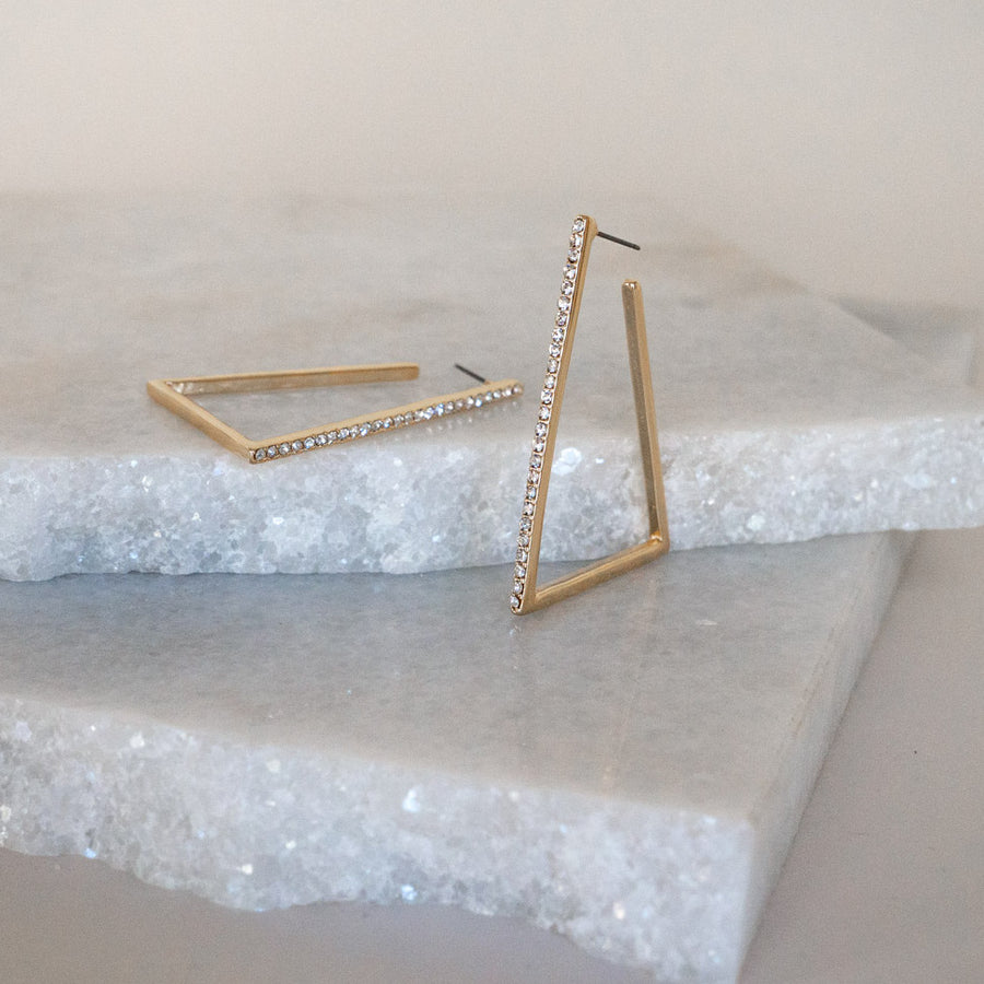 Triangle Tridant Gold Crystal Pave Hoop