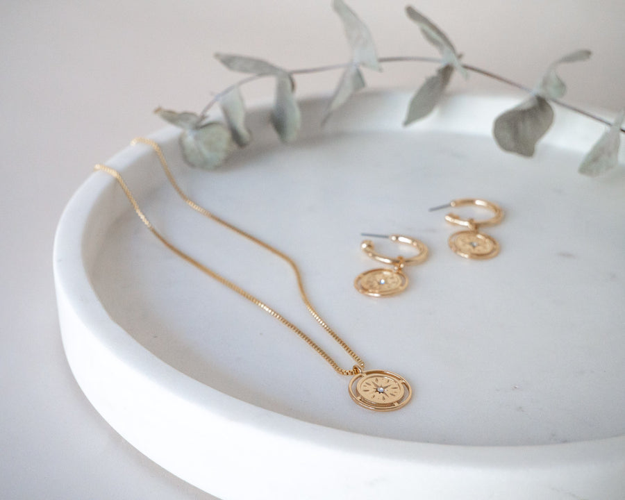 gold coin hoop earring matching jewellery layer necklace