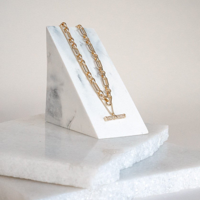 Pave T Bar Necklace