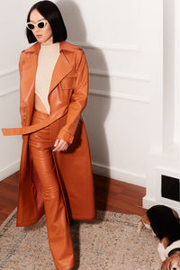 Neo Classic Orange Leather TrenchCoat