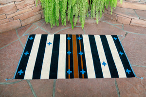 Handwoven Zapotec Rug - Cloud Crosses Wool Oaxacan Textile