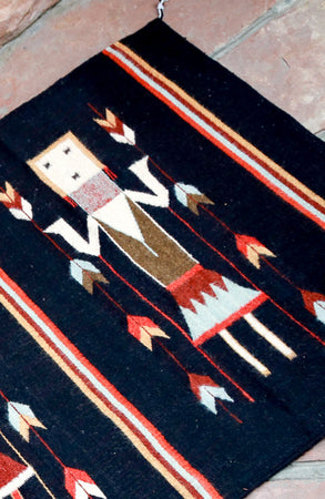 Handwoven Zapotec Indian Rug - Yei Black Wool Oaxacan Textile