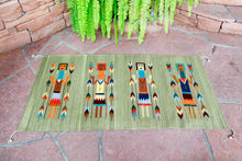 Load image into Gallery viewer, Handwoven Zapotec Indian Rug - Yei Green Wool Oaxacan Textile