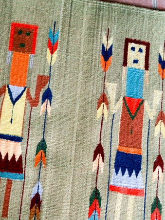 Handwoven Zapotec Indian Rug - Yei Green Wool Oaxacan Textile