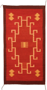 Handwoven Zapotec Rug - 1920s Rojo Natural Wool Textile