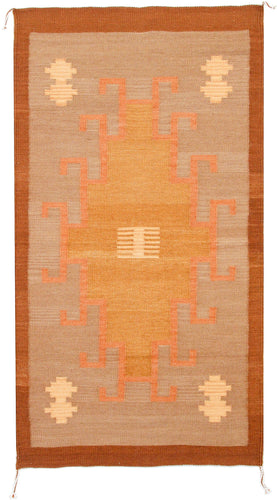 Handwoven Zapotec Rug - 1920s Lincoln Tierra Wool Textile