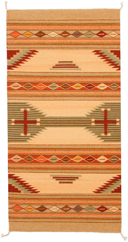 Handwoven Zapotec Indian Rug - Connected Cross Suave Wool Oaxacan Textile