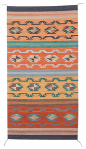 Handwoven Zapotec Indian Rug - Crystal Azul Wool Oaxacan Textile