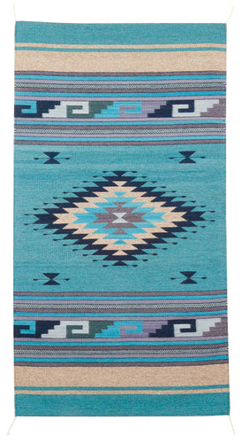 Handwoven Zapotec Indian Rug - Diamante Azul Wool Oaxacan Textile