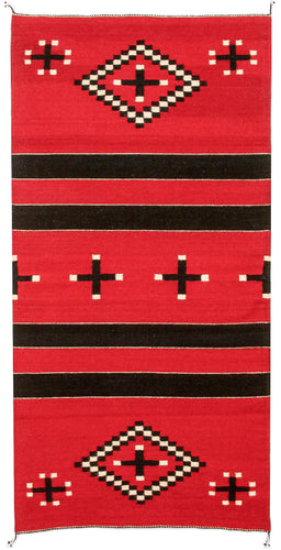 Handwoven Zapotec Indian Rug - Dolores Red Wool Oaxacan Textile