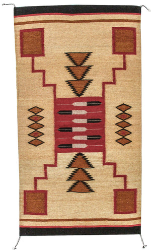 Handwoven Zapotec Indian Rug - Feathers Lincoln Wool Oaxacan Textile