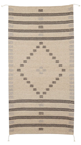 Handowven Zapotec Indian Rug - First Mesa Natural Wool Oaxacan Textile