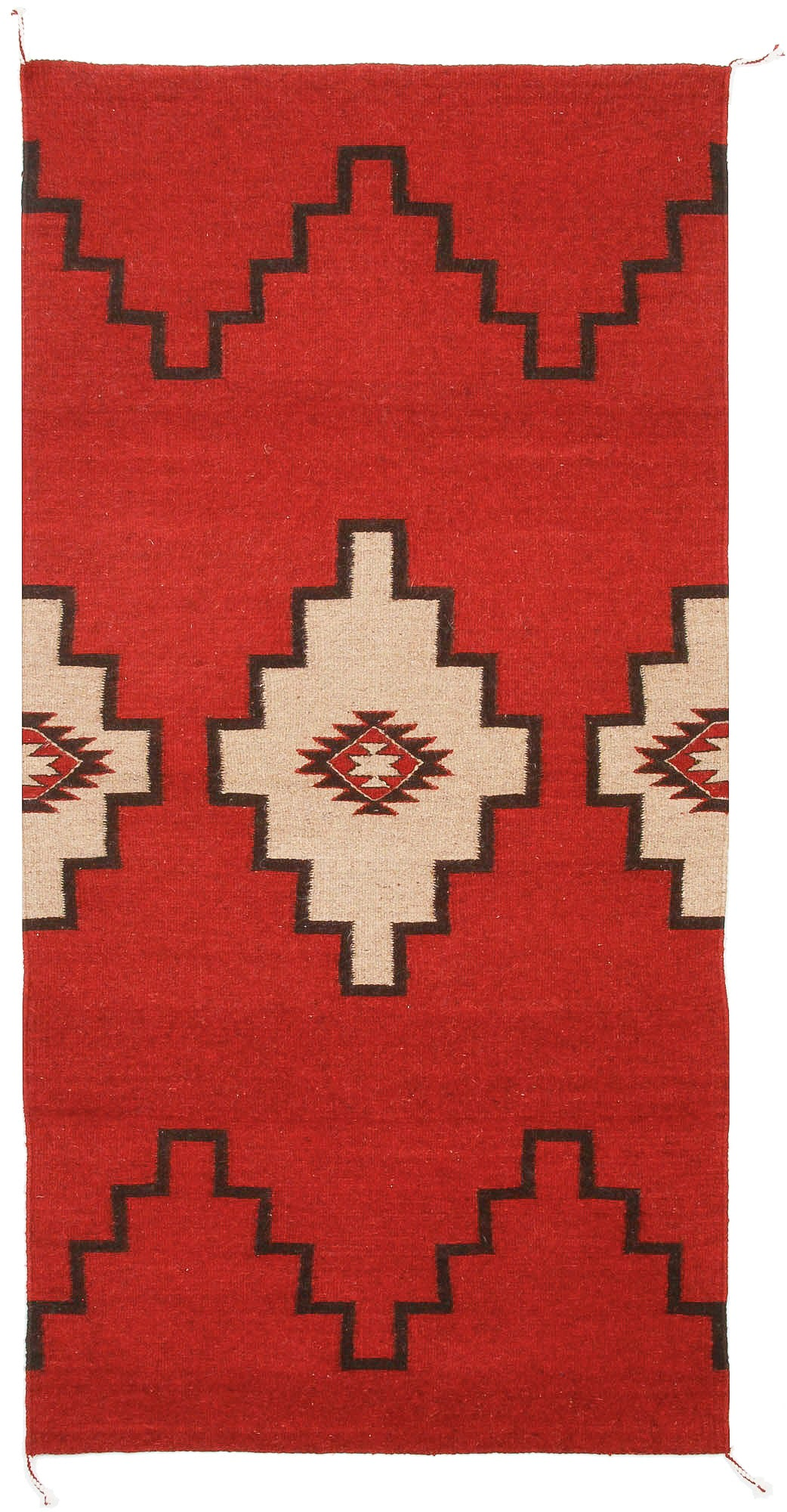 Handwoven Zapotec Indian Rug - Sprit Steps Wool Oaxacan Textile