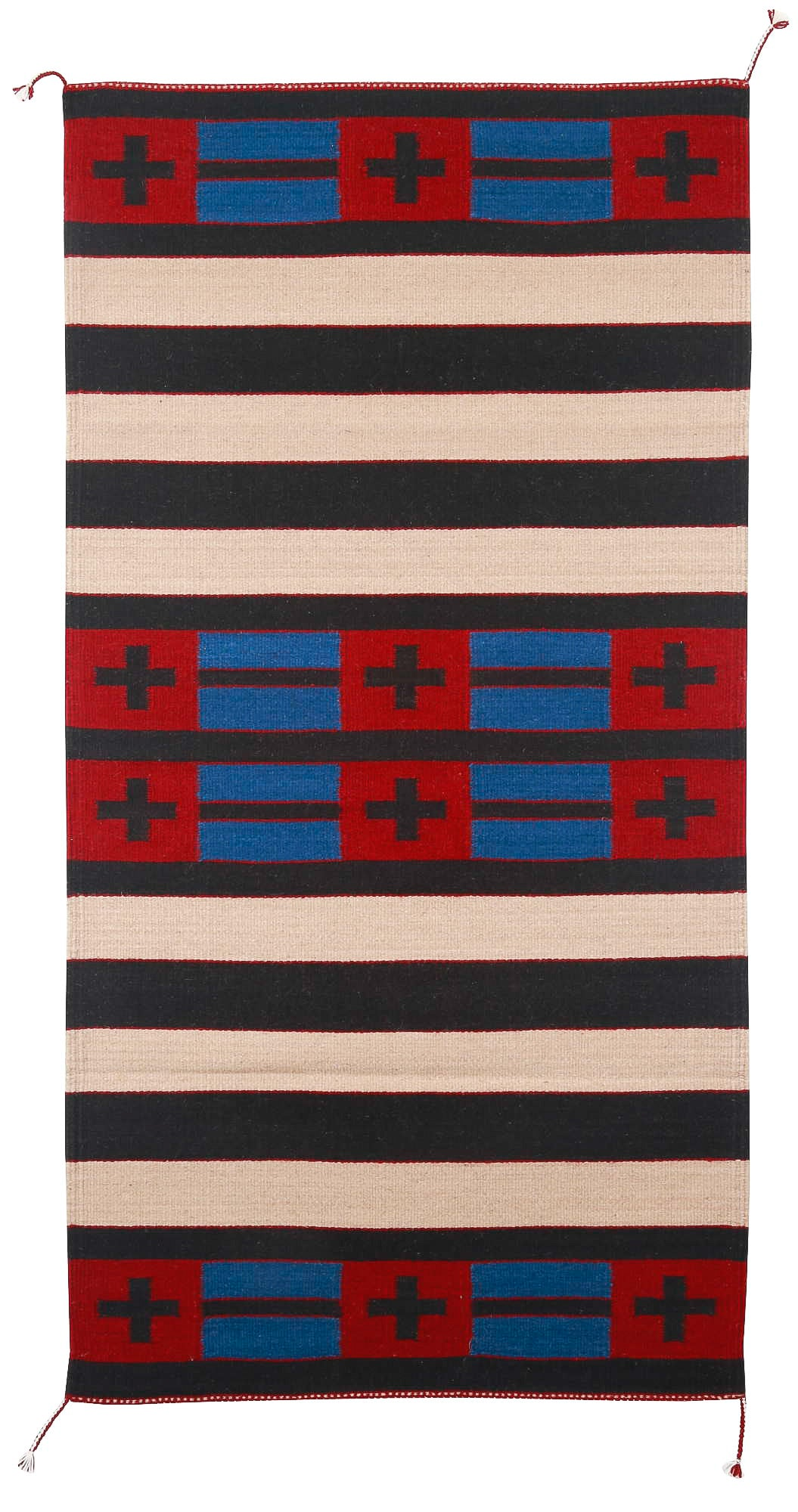 Handwoven Zapotec Indian Rug - Second Phase with Crosses Wool Oaxacan Textile
