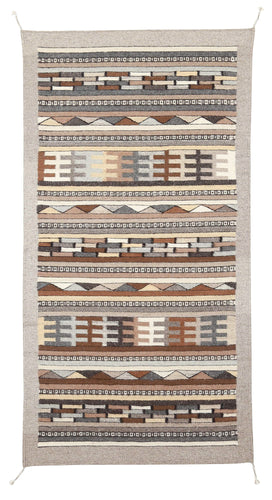Handwoven Zapotec Indian Rug - Tetris Natural Wool Oaxacan Textile