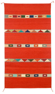 Handwoven Zapotec Indian Rug - Tipo Peru Ladrillo Wool Oaxacan Textile