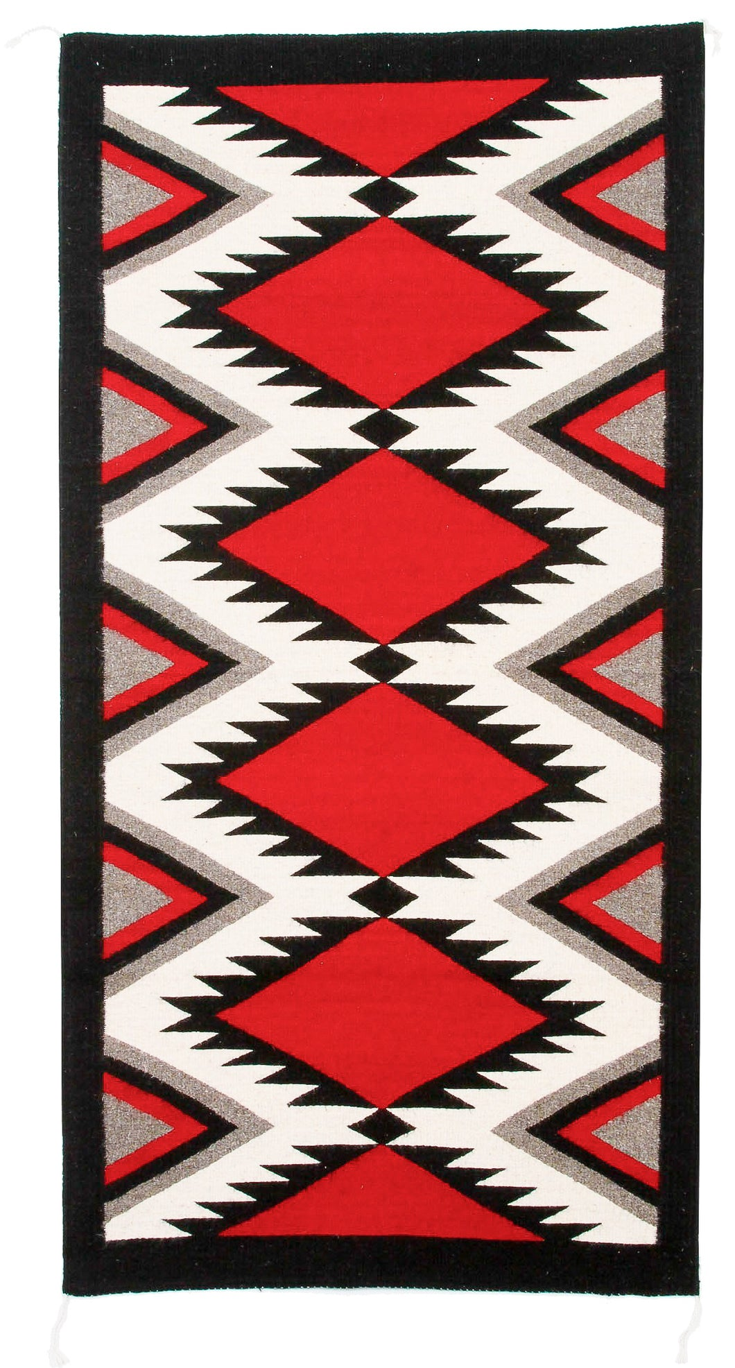 Handwoven Zapotec Indian Rug - Zapotec Diamond Wool Oaxacan Textile