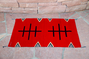 Handwoven Zapotec Indian Rug - Doble Cruces Rojo Wool Oaxacan Textile