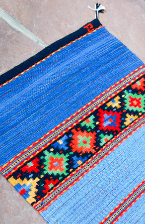 Handwoven Zapotec Indian Rug - Sunburst Wool Oaxacan Textile