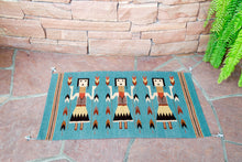 Load image into Gallery viewer, Handwoven Zapotec Indian Rug - Yei Blue Wool Oaxacan Textile