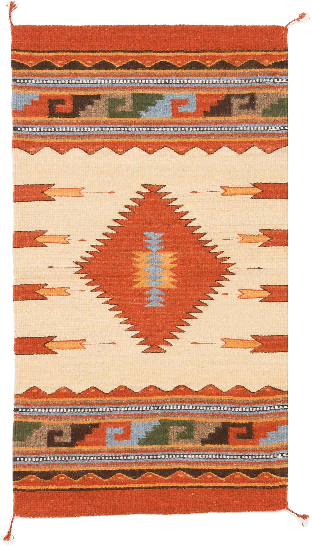 Handwoven Zapotec Indian Rug - Diamantes y Maguey Wool Oaxacan Textile