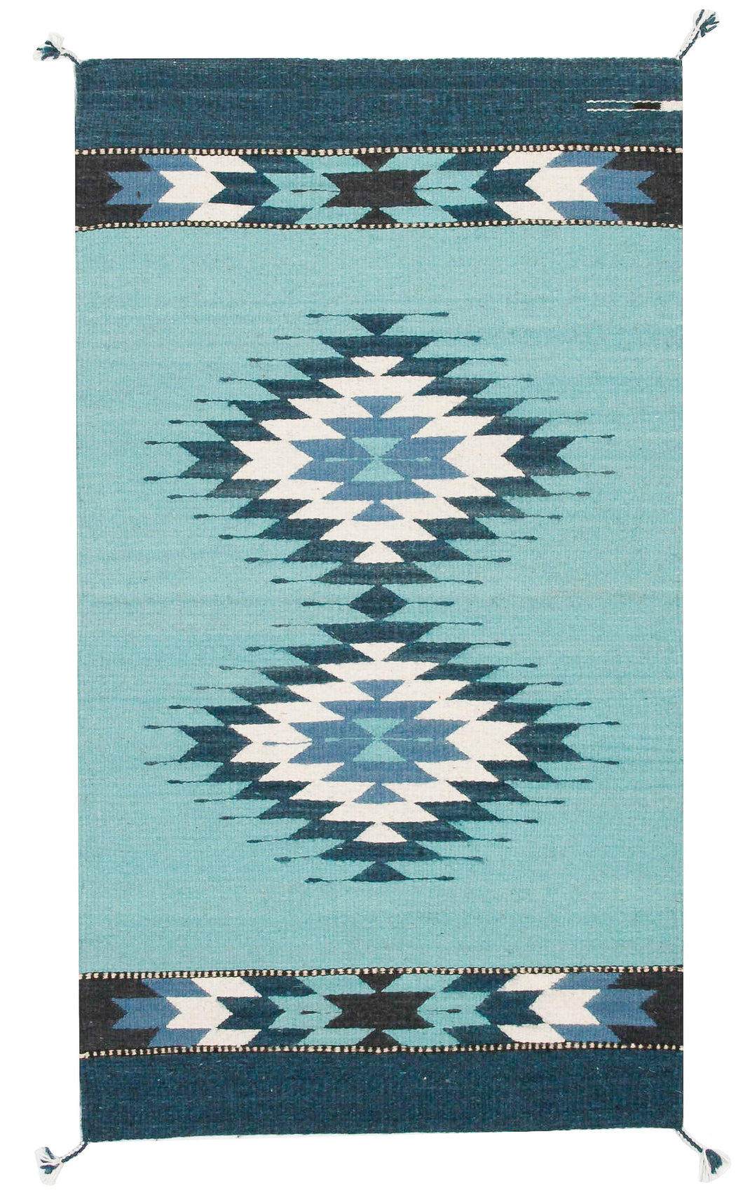 Handwoven Zapotec Indian Rug - Doble Diamante Azul Wool Oaxacan Textile
