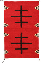Load image into Gallery viewer, Handwoven Zapotec Indian Rug - Doble Cruces Rojo Wool Oaxacan Textile