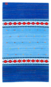 Handwoven Zapotec Indian Rug - Sunset Stars Wool Oaxacan Textile