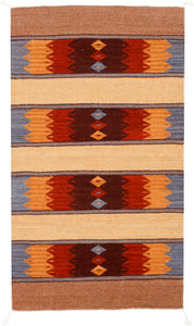 Handwoven Zapotec Indian Rug - Papalote Azul Wool Oaxacan Textile