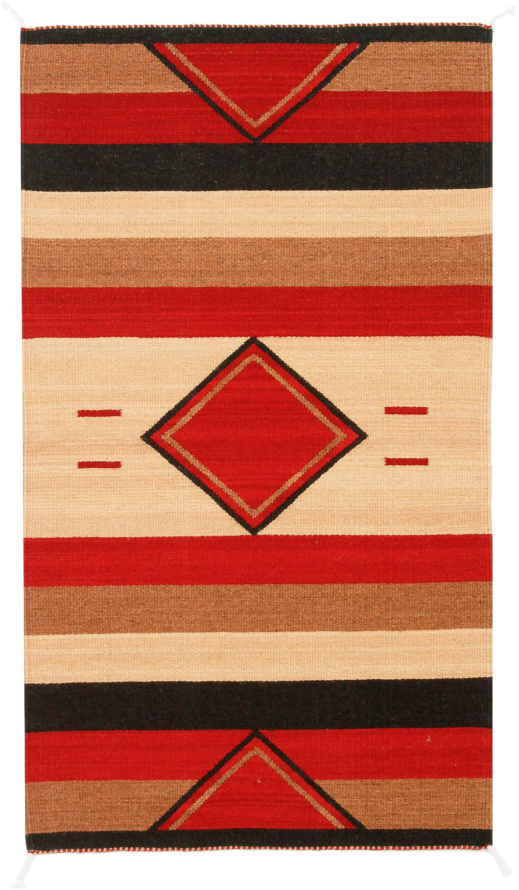 Handwoven Zapotec Indian Rug - Rombos Wool Oaxacan Textile