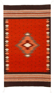 Handwoven Zapotec Indian Rug - Soplador Rust Wool Oaxacan Textile