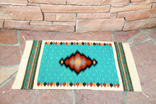 Load image into Gallery viewer, Handwoven Zapotec Indian Rug - Soplador Turquoise Wool Oaxacan Textile