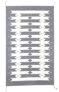 Handwoven Zapotec Indian Rug - Tetro Natural Wool Oaxacan Textile