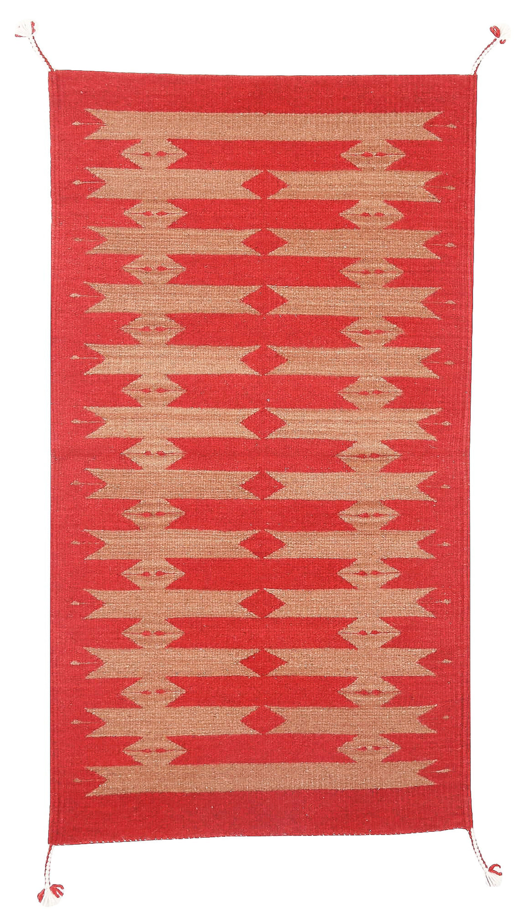 Handwoven Zapotec Indian Rug - Tetro Red Wool Oaxacan Textile