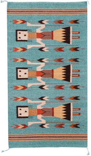 Handwoven Zapotec Indian Rug - Yei Blue Wool Oaxacan Textile