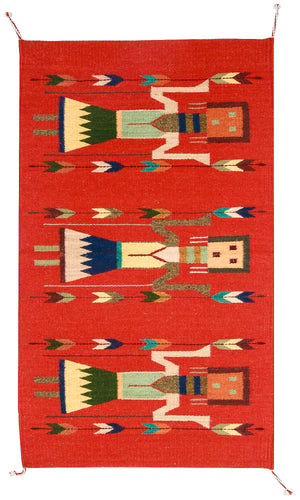 Handwoven Zapotec Indian Rug - Yei Brick Wool Oaxacan Textile