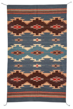 Load image into Gallery viewer, Handwoven Zapotec Indian Rug - Ocean Diamonds Wool Oaxacan Textile