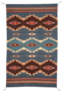 Handwoven Zapotec Indian Rug - Ocean Diamonds Wool Oaxacan Textile