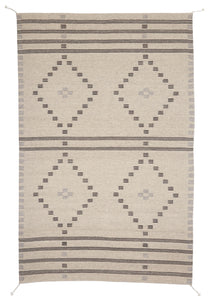 Handwoven Zapotec Indian Rug - First Mesa Natural Wool Oaxacan Textile