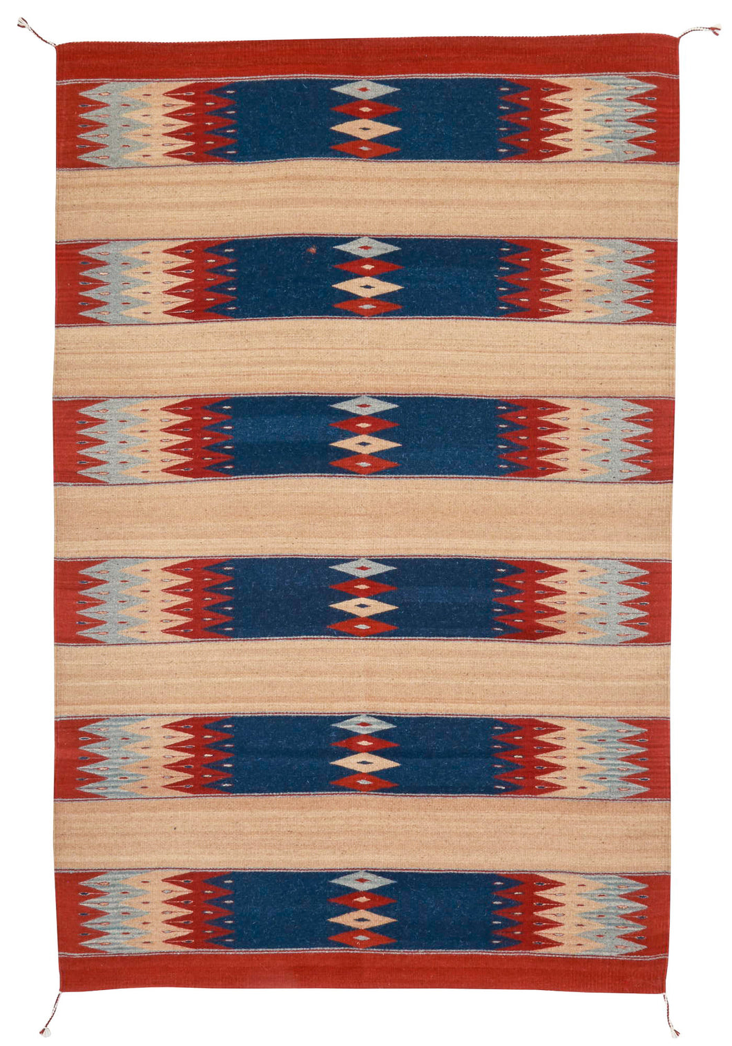 Handwoven Zapotec Indian Rug - Papalote del Mar Wool Oaxacan Textile