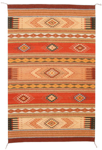 Handwoven Zapotec Indian Rug - Mariachi Wool Oaxacan Textile