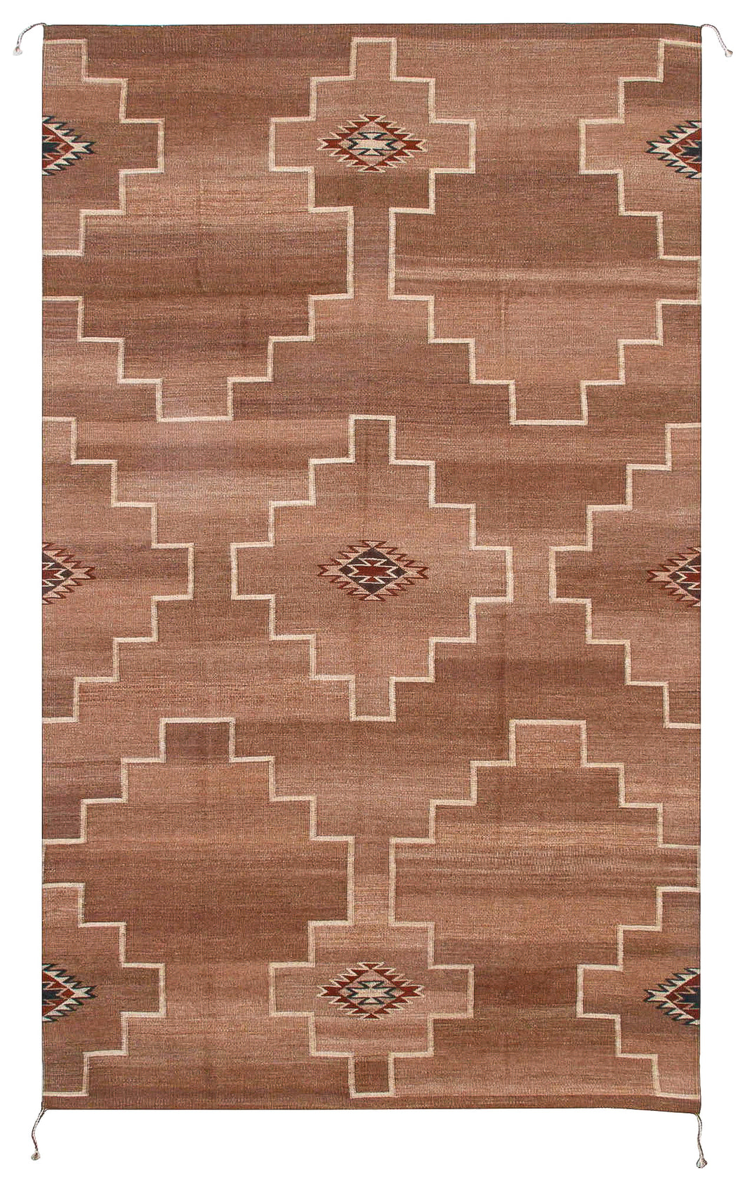 Handwoven Zapotec Indian Rug - Spirit Diamond Wool Oaxacan Textile