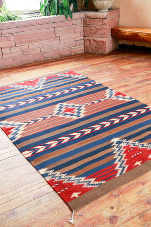 Handwoven Zapotec Indian Rug - Crown King Wool Oaxacan Textile