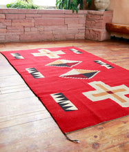 Load image into Gallery viewer, Handwoven Zapotec Indian Rug - Kayenta Red Wool Oaxacan Textile