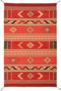 Handwoven Zapotec Indian Rug - Seven Jewels Wool Oaxacan Textile