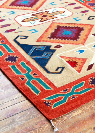 Handwoven Zapotec Indian Rug - Tees Miel Wool Oaxacan Textile