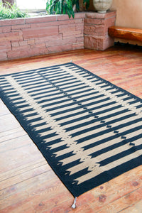 Handwoven Zapotec Indian Rug - Tetro Black Wool Oaxacan Textile