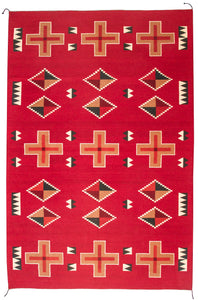 Handwoven Zapotec Indian Rug - Kayenta Red Wool Oaxacan Textile