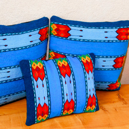 Handwoven Zapotec Indian Pillow - La Playa Wool Oaxacan Textile