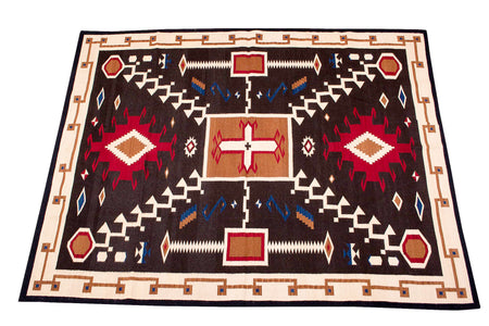Handwoven Zapotec Indian Rug - Oaxacan Storm Wool Textile